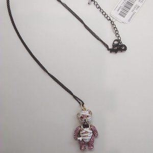 Betsey Johnson New Pink & White Bear Necklace